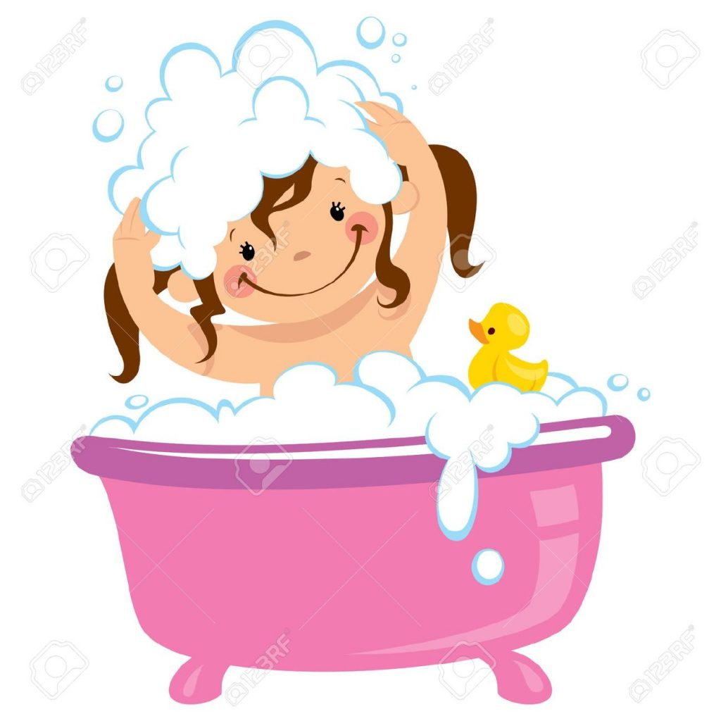 a ba girl having bath in a bathtub with lot of soap lather