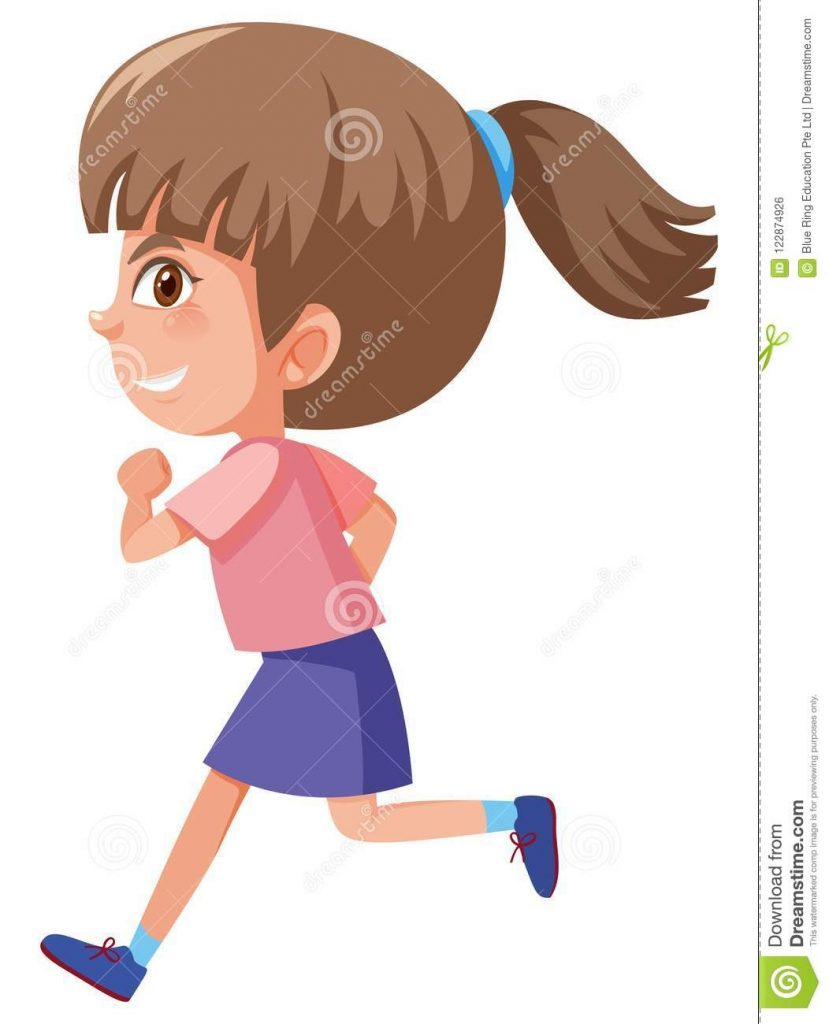a cute girl running on white background stock vector