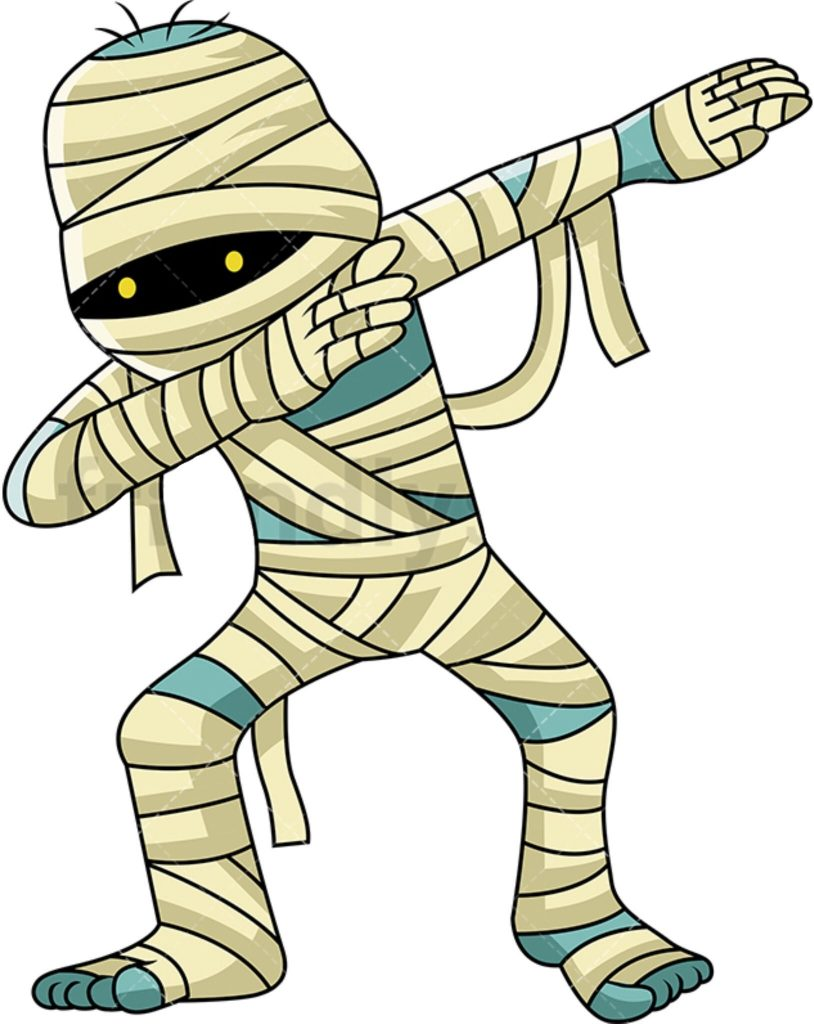 a dabbing egyptian mummy vector cartoon clipart cartoon