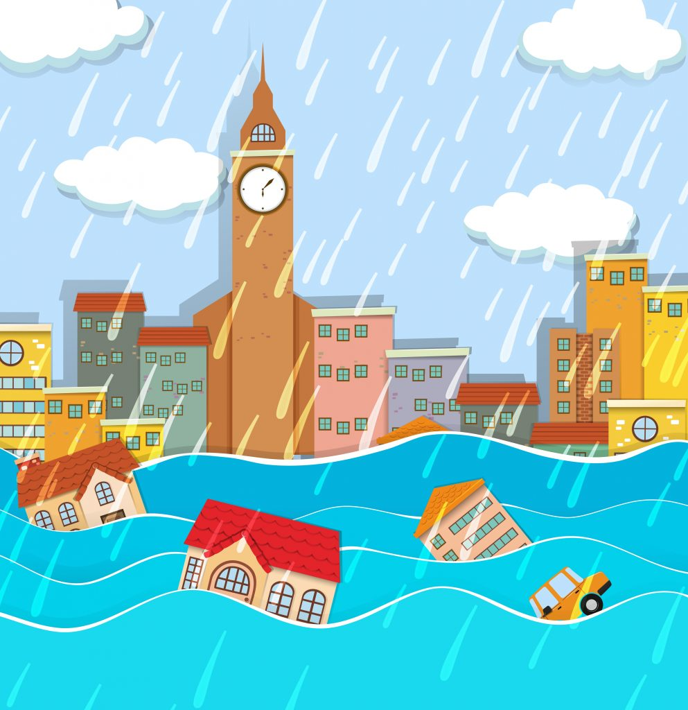 a flood in big city download free vectors clipart