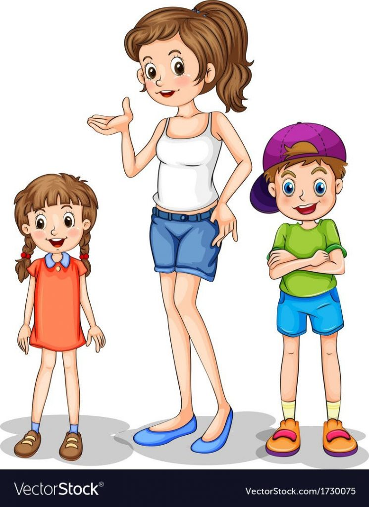 a girl and her siblings vector image on ilustracje dzieci