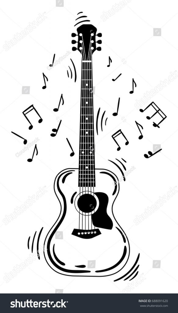 acoustic guitar makes sound black white stock vector
