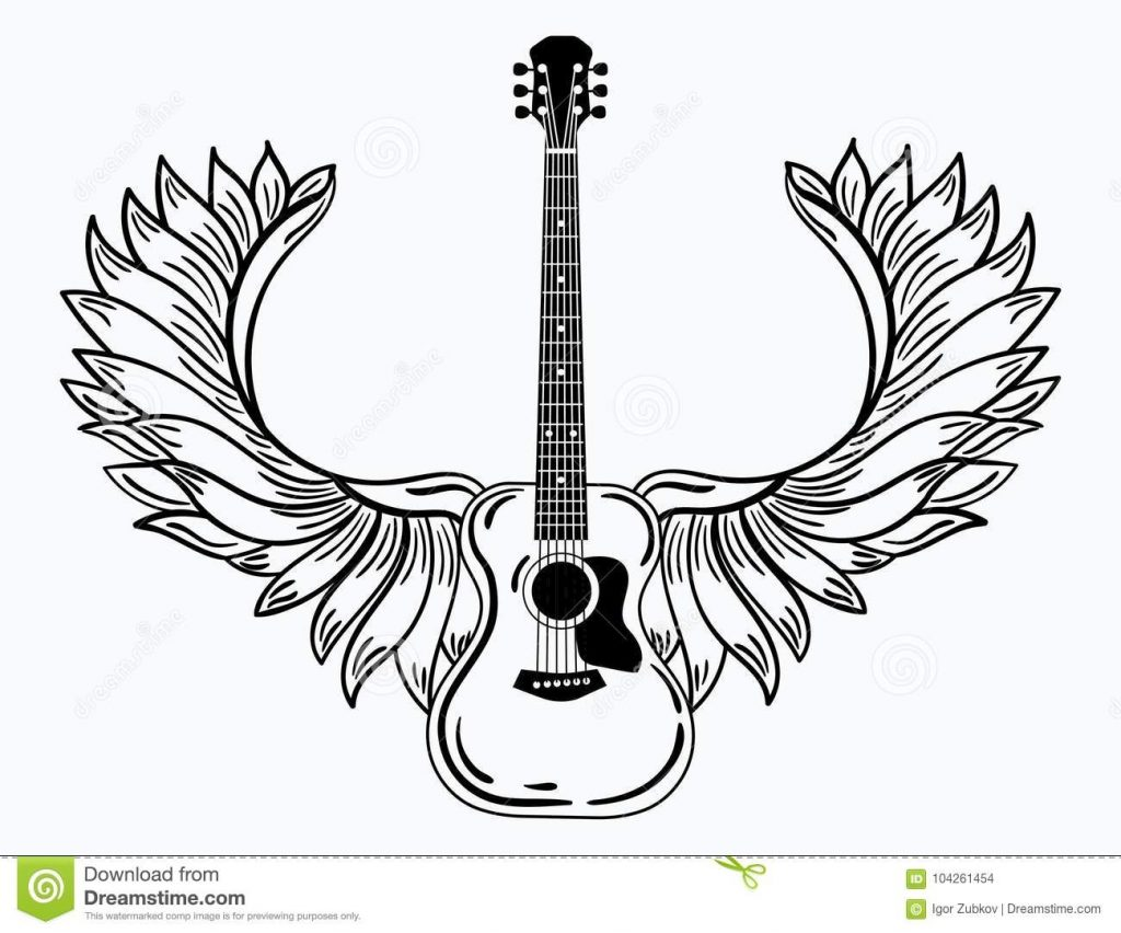 acoustic guitar with wings stylized coustic guitar with