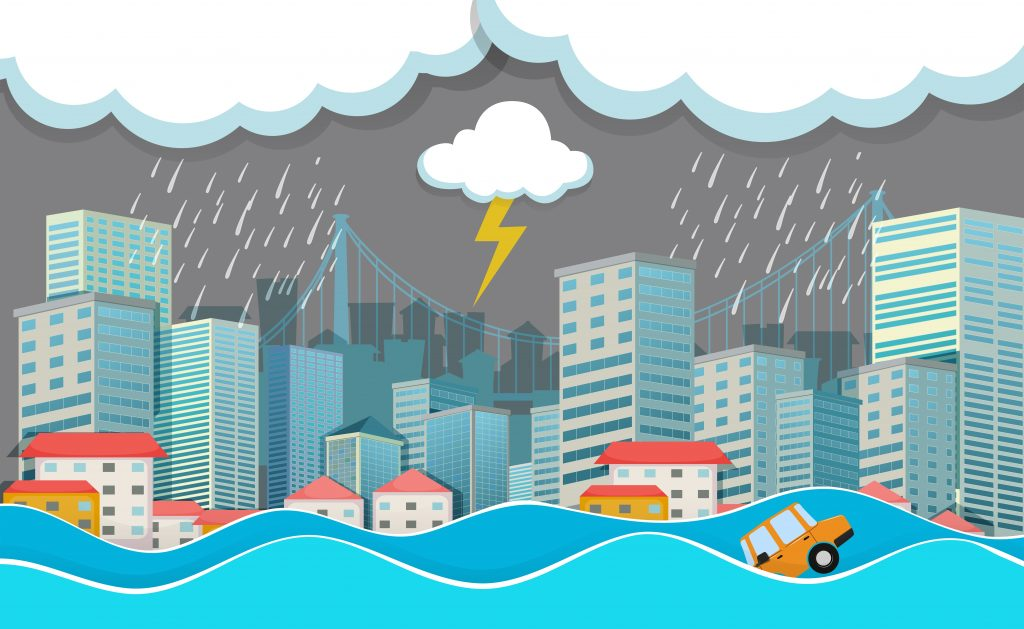 an urban city under flood download free vectors clipart