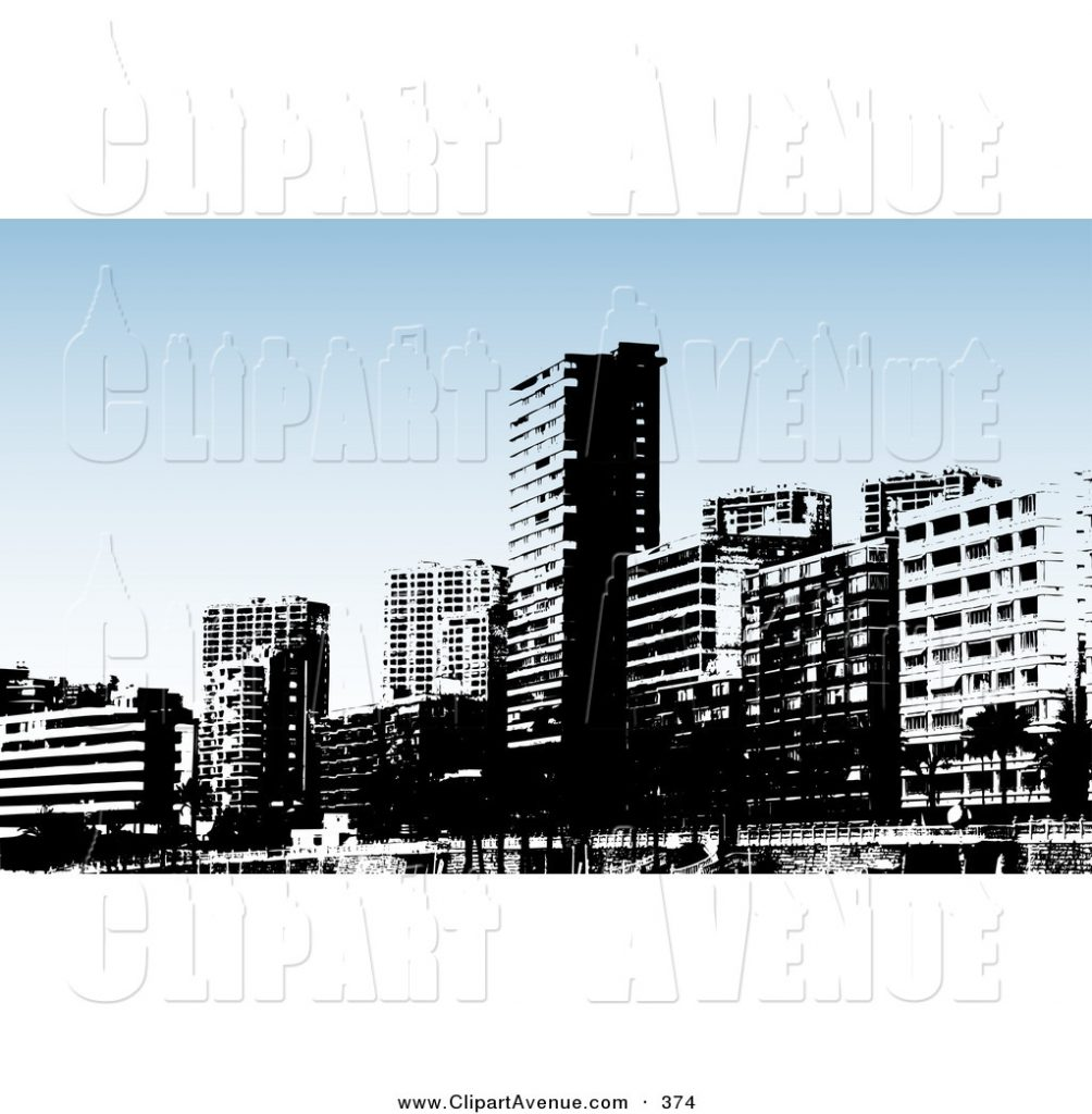 avenue clipart of a skyline of a black and white benidorm