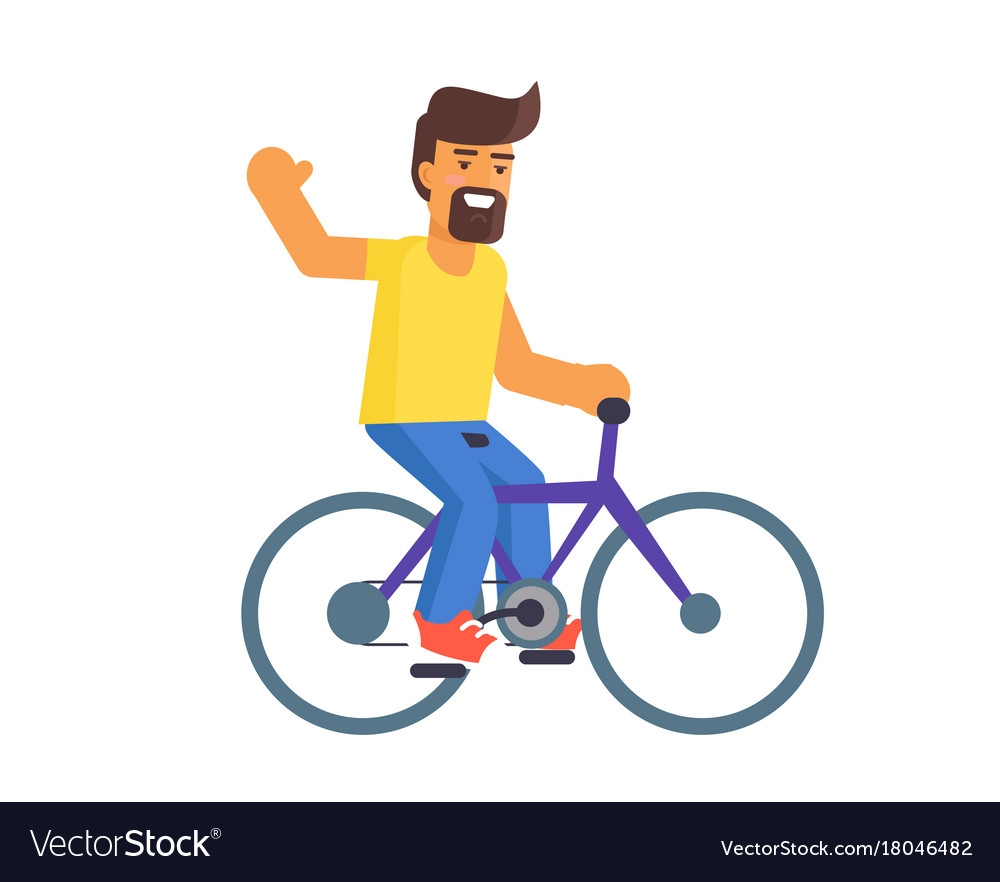 bearded man riding on bike