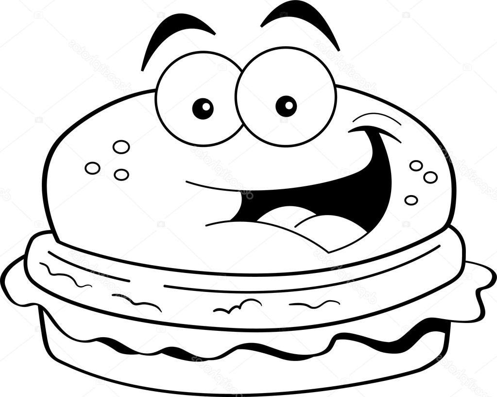 best hd cartoon hamburger black and white vector cdr free