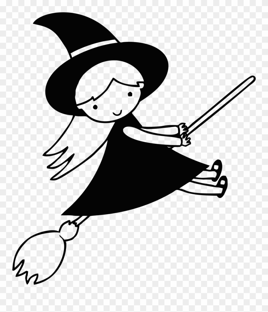 big image witch black and white clip art png download