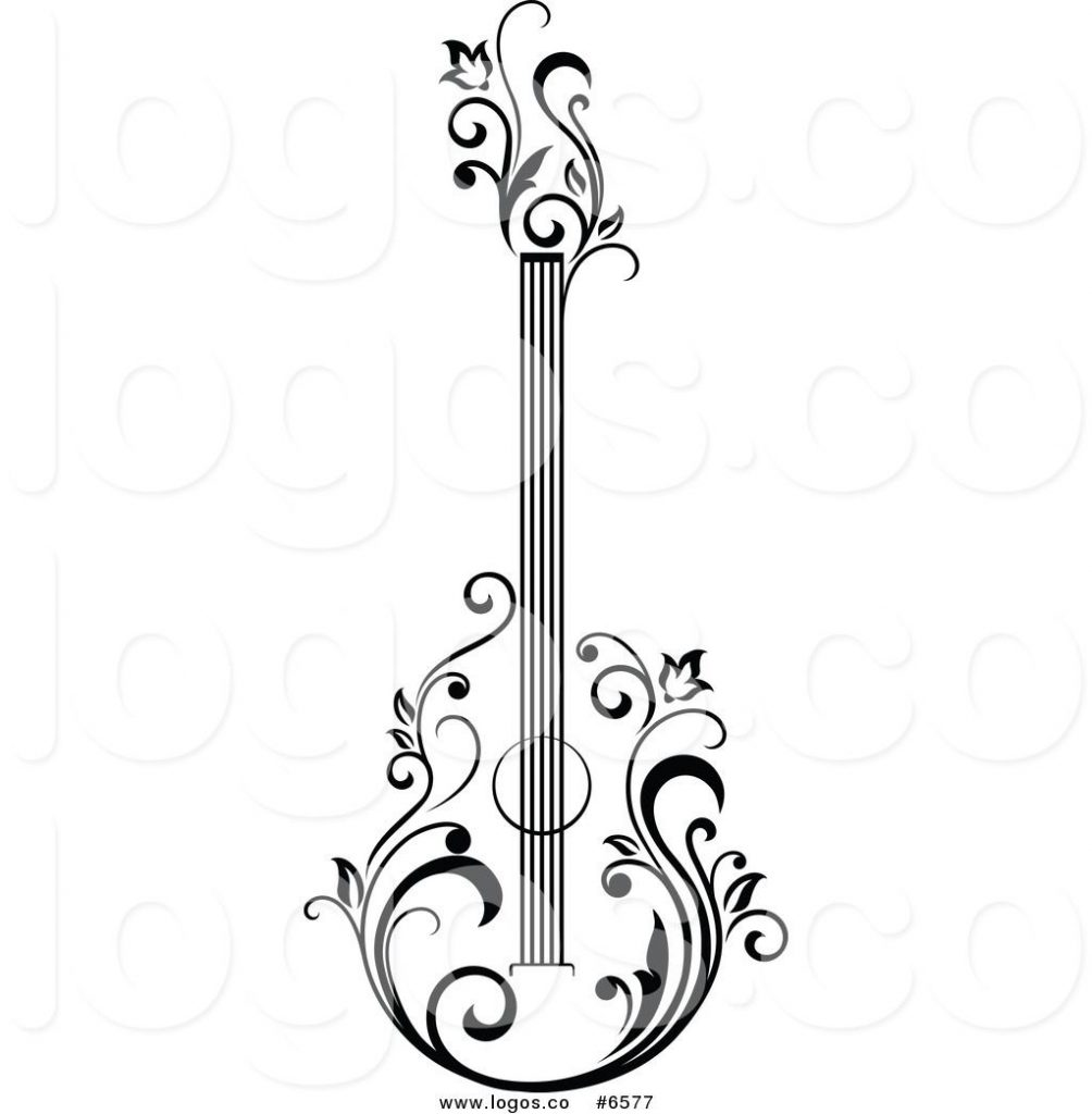 black and white acoustic guitar clipart clipartfest