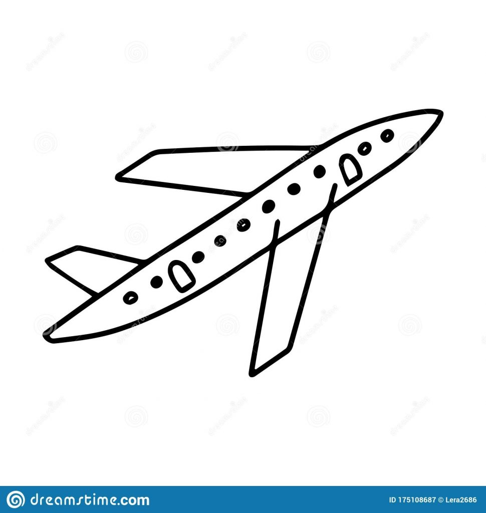 black and white airplane in doodle style simple vector
