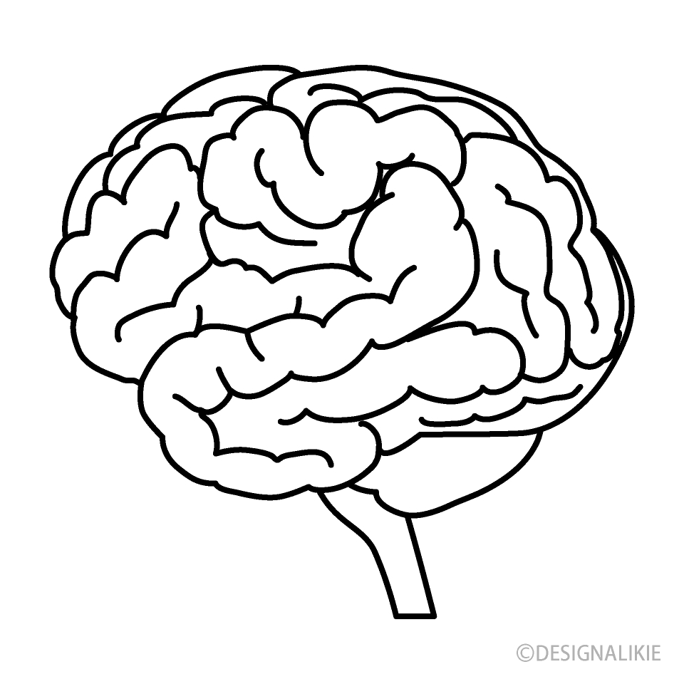 black and white brain clipart free png imageillustoon