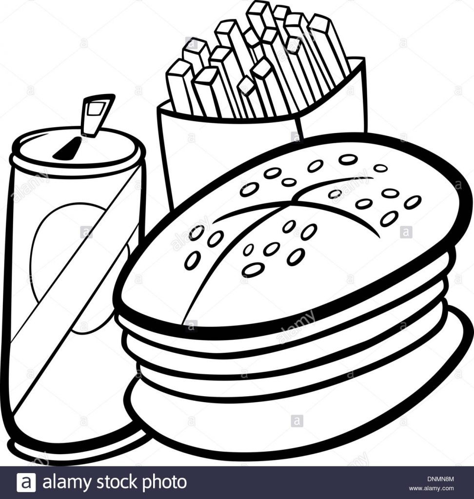black and white cartoon illustration of fast food set with