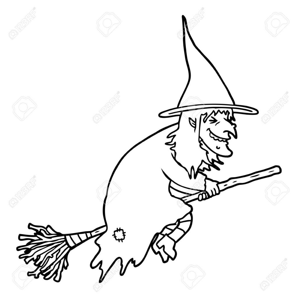 black and white cartoon witch on broom