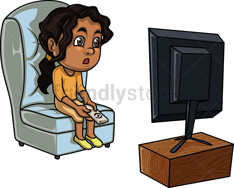 black girl watching tv cartoon clip art cartoon tv cartoon