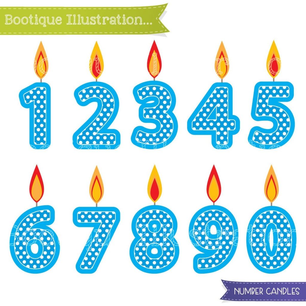 blue number candles clipart boys birthday clipart blue
