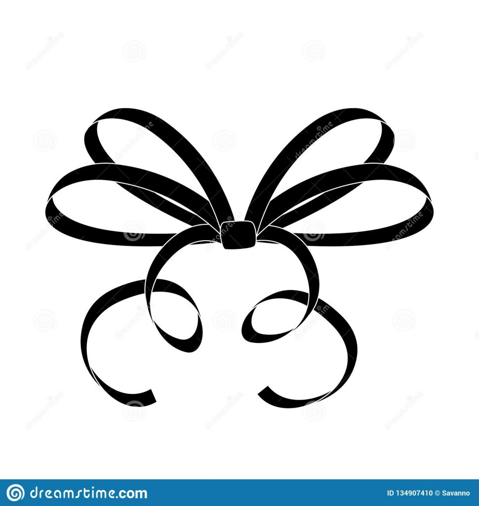 bow thin tied ribbon black icon stock vector