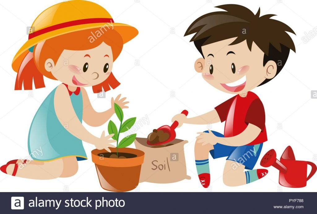 boy and girl planting tree illustration stock vector image