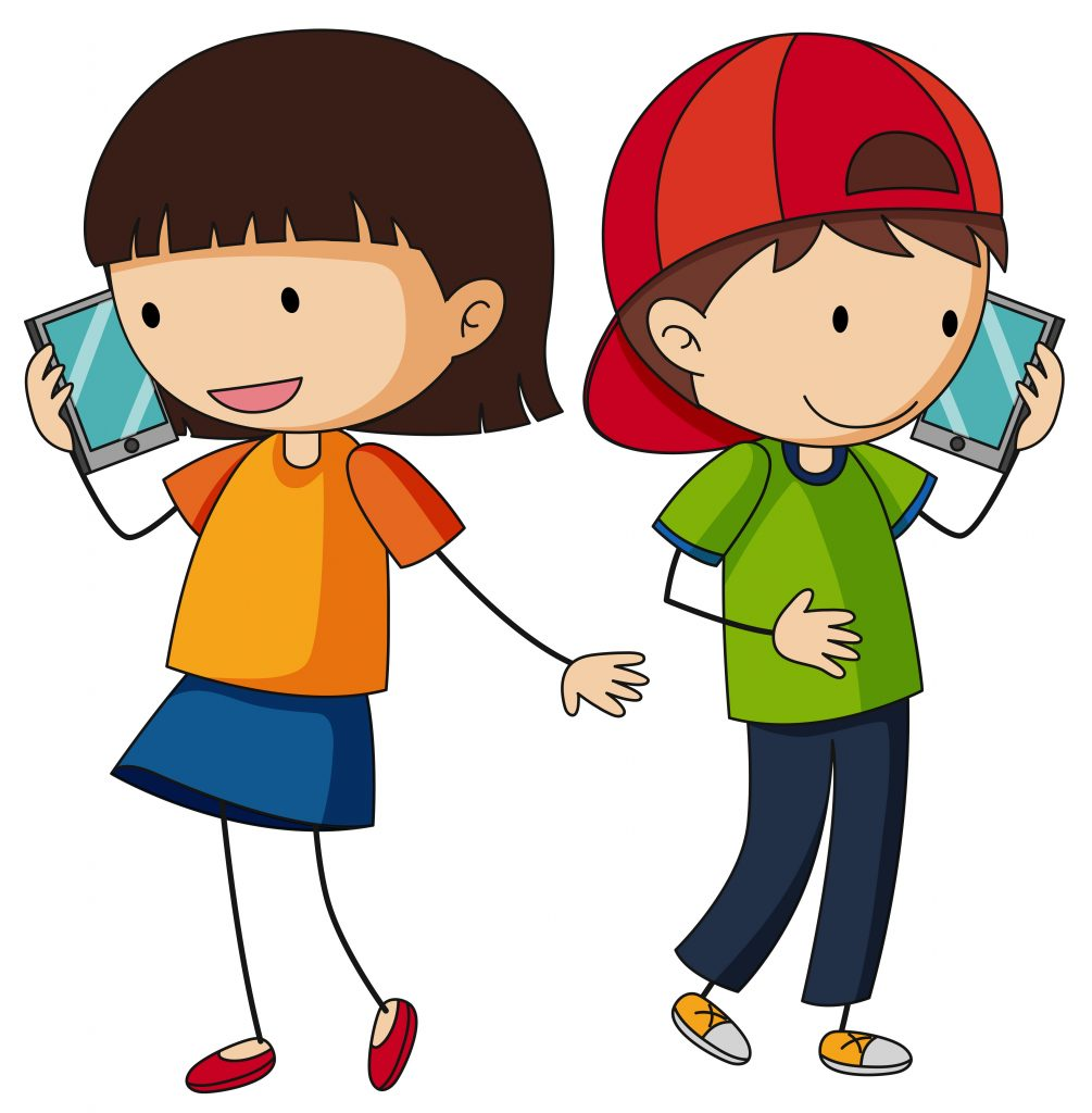 boy and girl talking on cellphone download free vectors