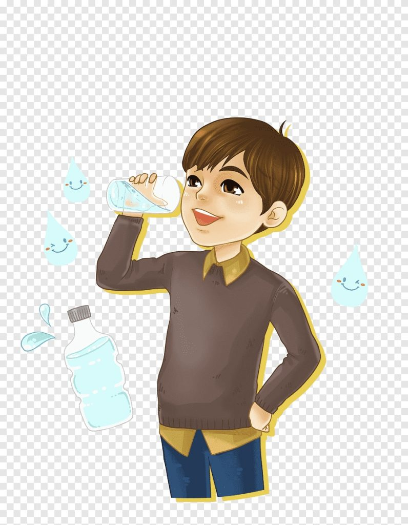 boy drink water cartoon hand painted png pngegg