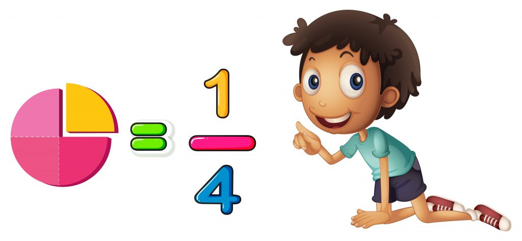 boy learning fraction on white background download free