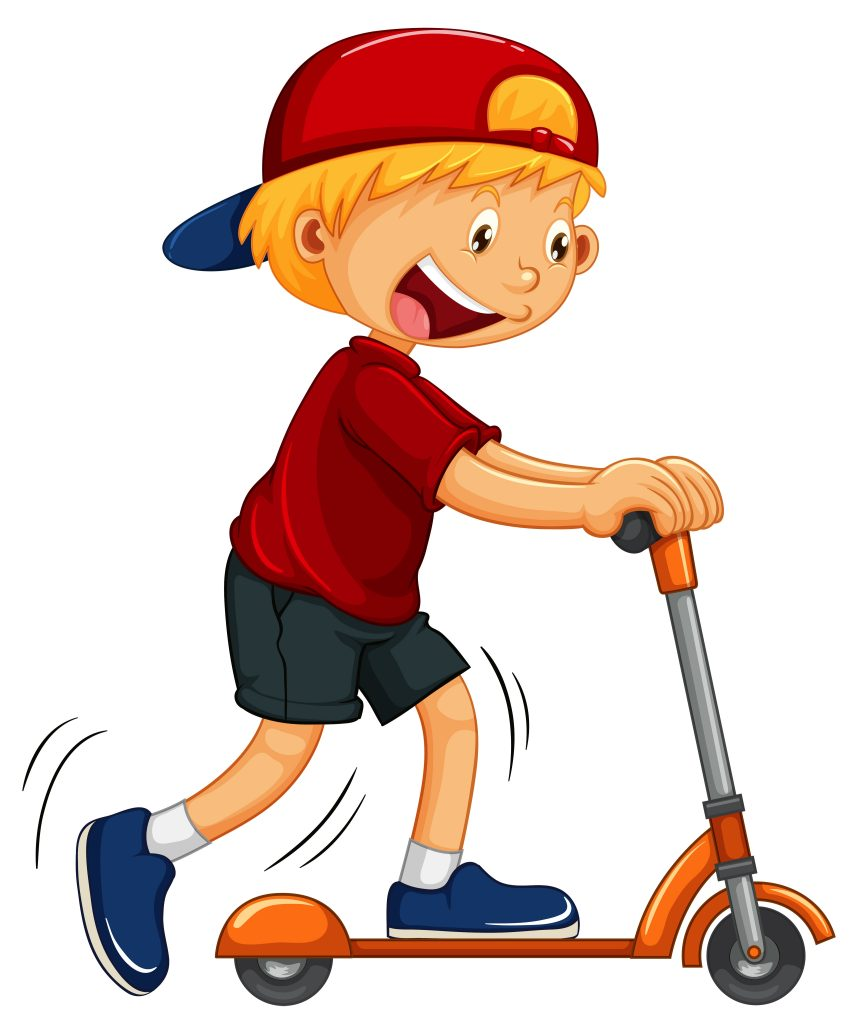 boy playing hand scooter download free vectors clipart