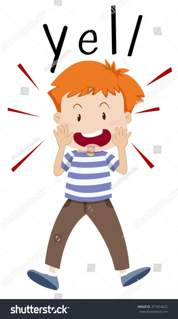 boy yelling out something illustration stock vector royalty