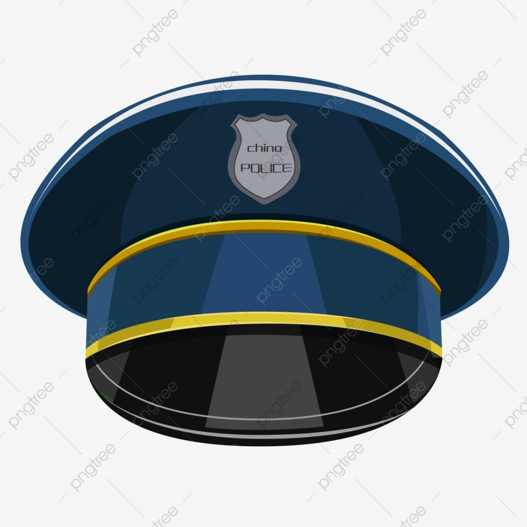 cartoon blue police hat logo hat headdress png and vector