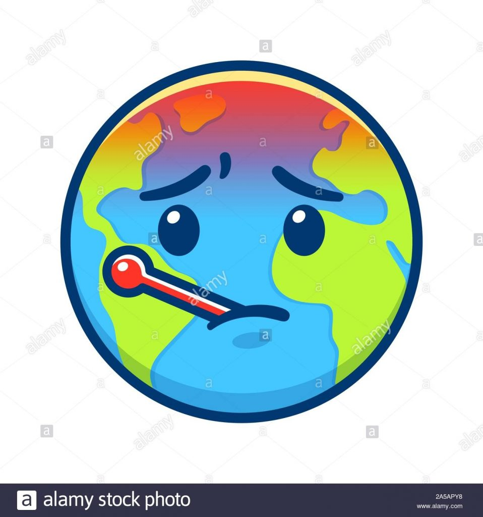 cartoon earth with thermometer having fever global warming