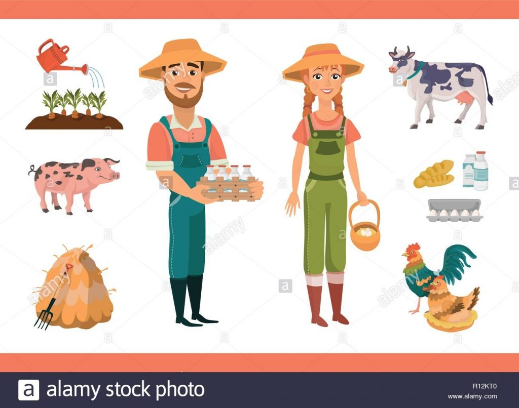 cartoon farm clipart collection with farm workers man and