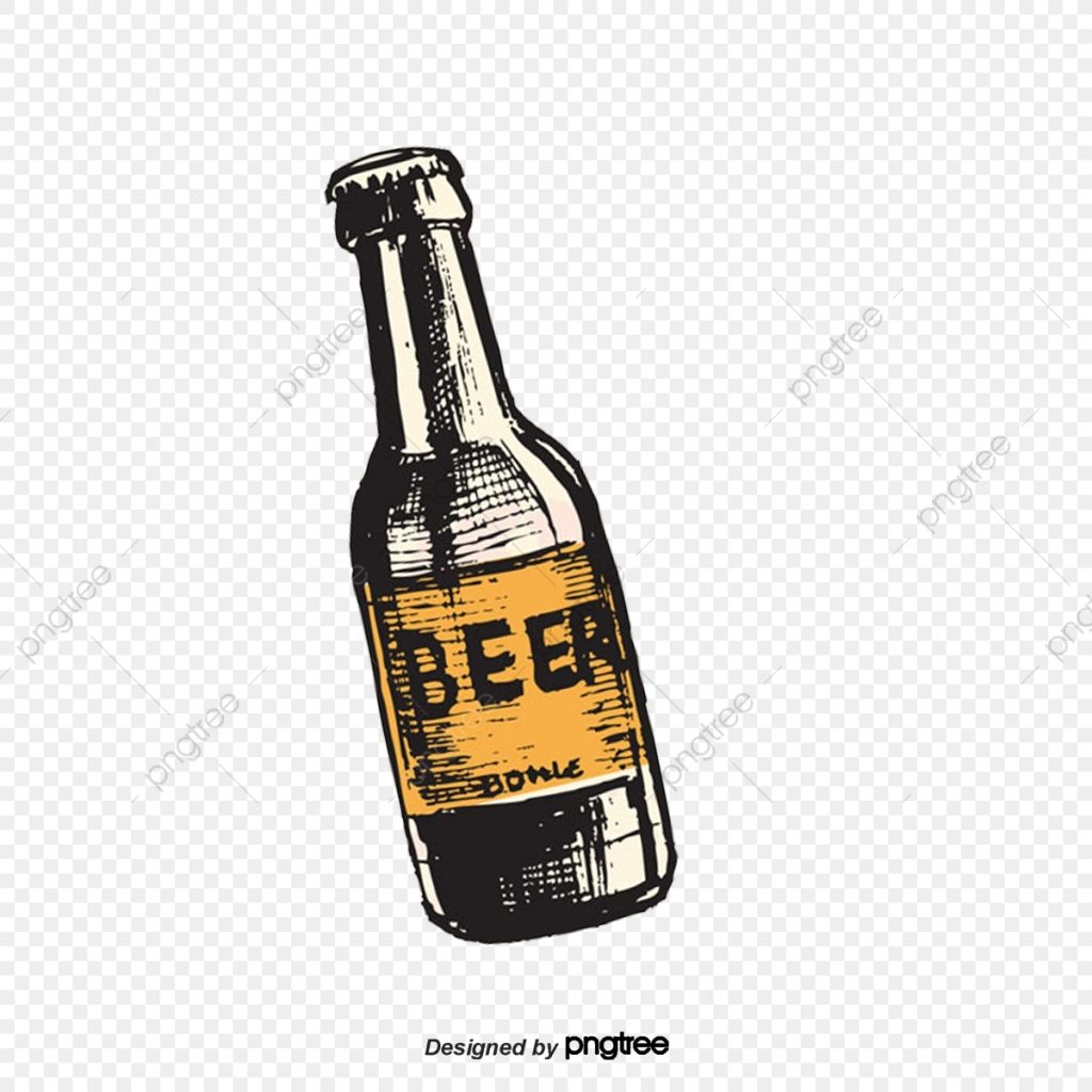cartoon hand painted beer bottle beer flat bottle png