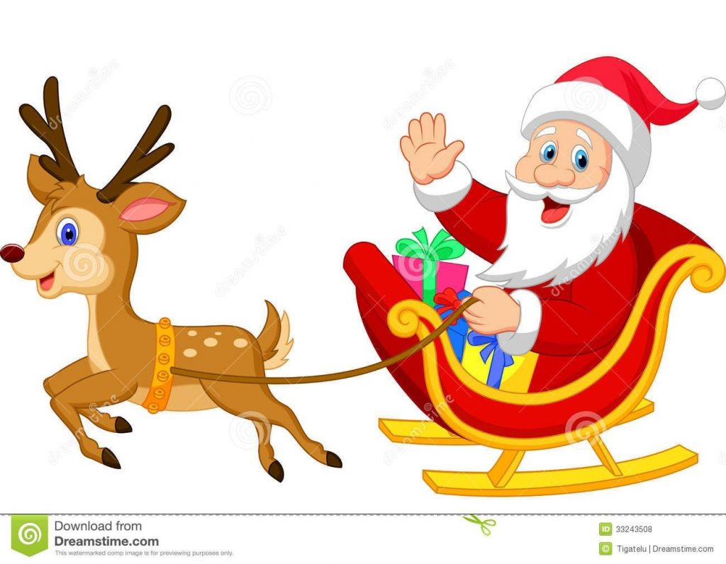 cartoon santa drives his sleigh stock vector image