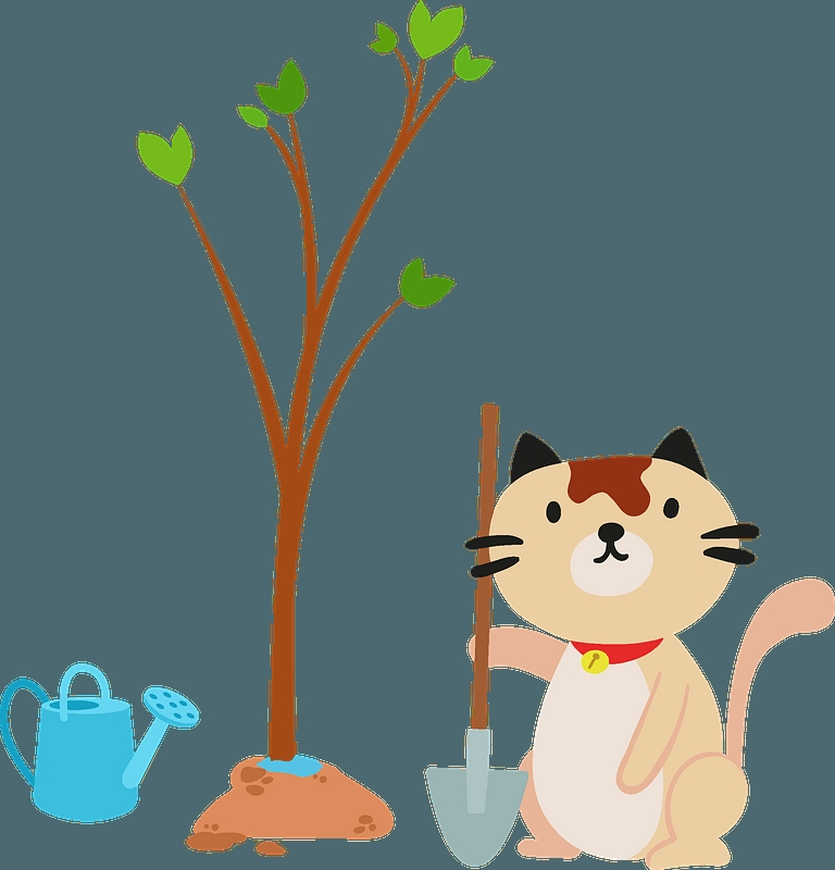 cat planting a tree clipart free download transparent