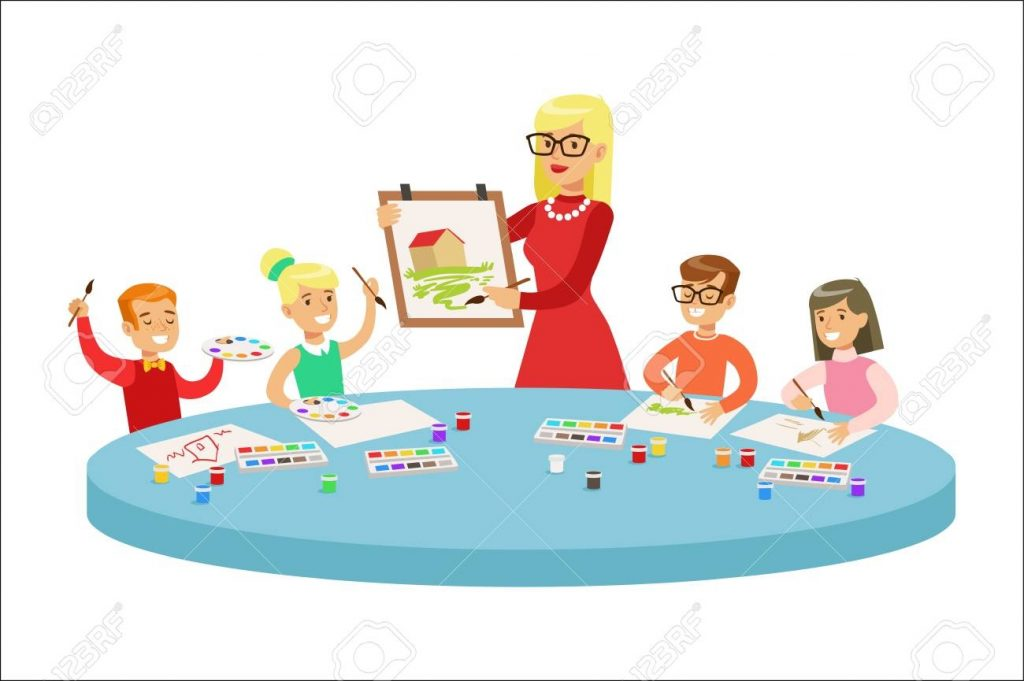 children in art class two cartoon illustrations with elementary
