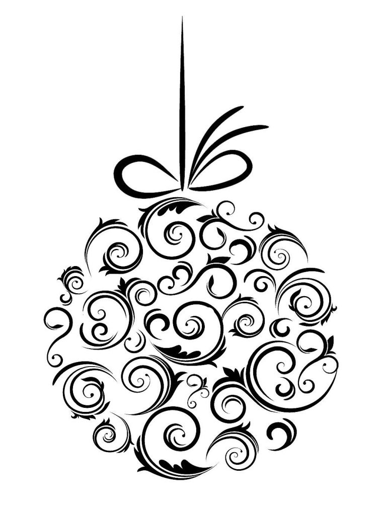 christmas decorations clipart black and white nice