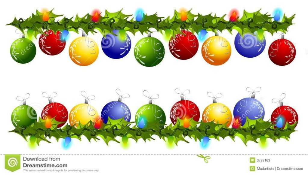 christmas ornament swag borders or dividers stock