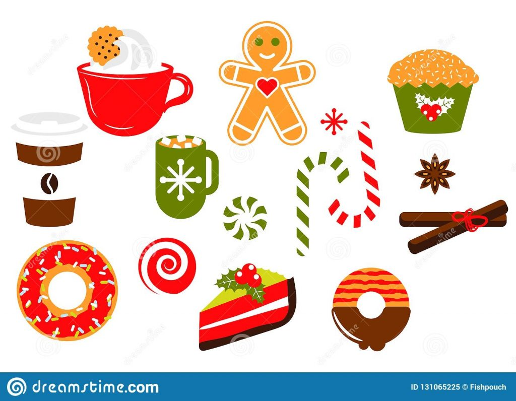 christmas sweets candy vector illustration clipart set