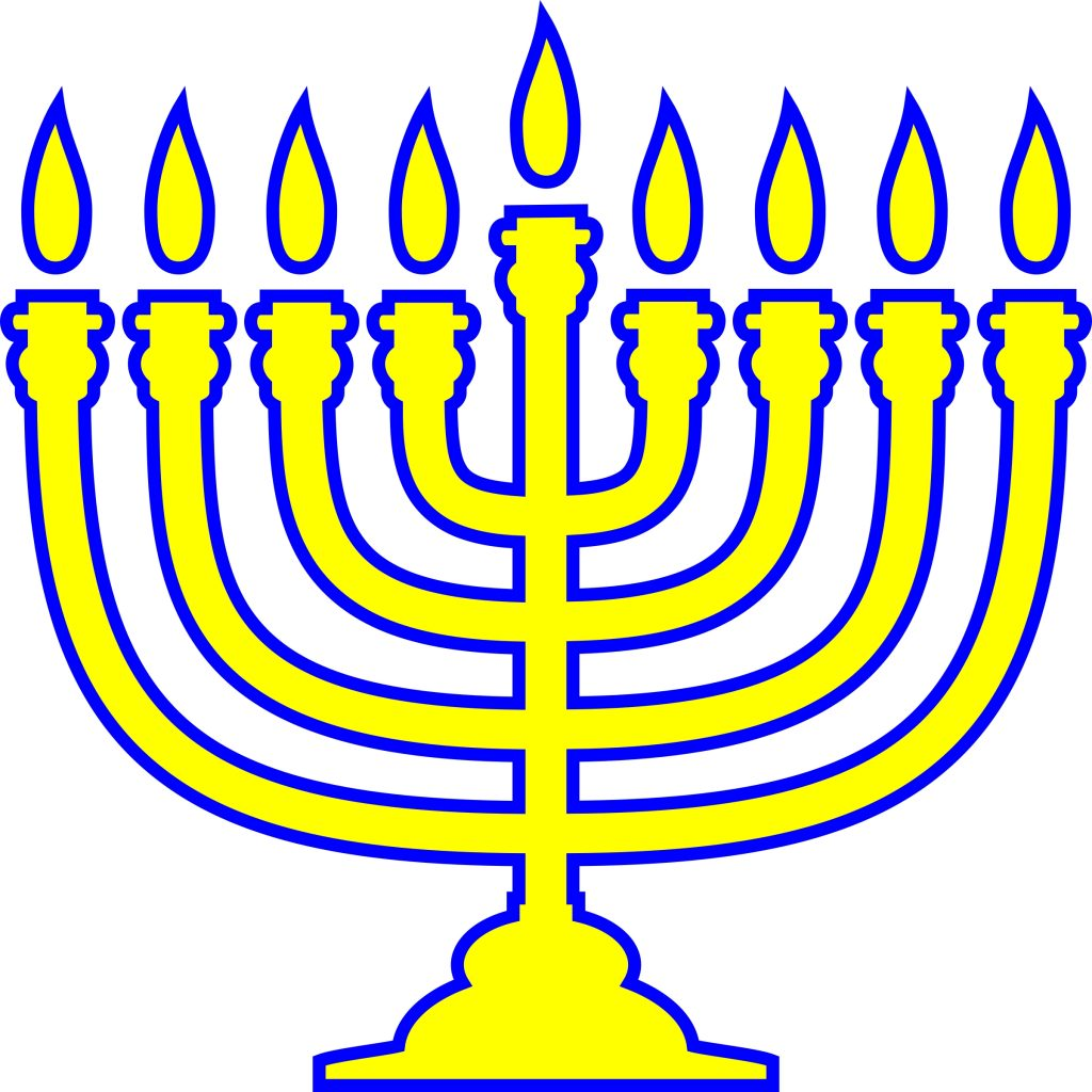 clip art happy hanukkah word with menorah image