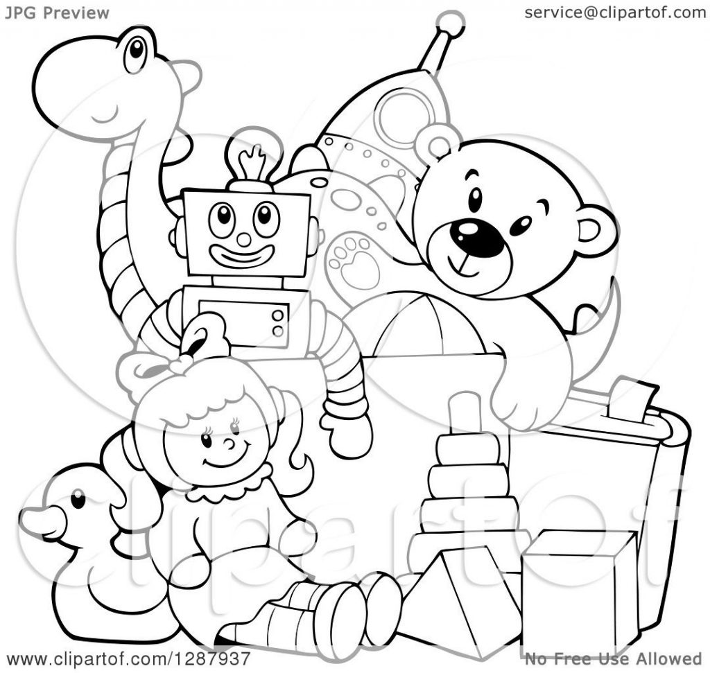 clipart of a black and white box of toys royalty free