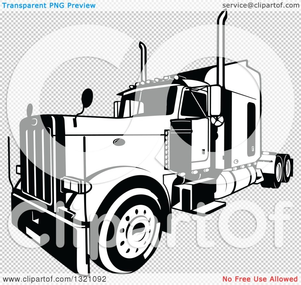 clipart of a black and white lorry big rig truck 3 royalty