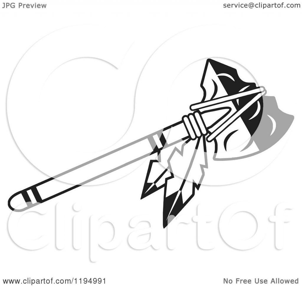 clipart of a black and white tomahawk with feathers