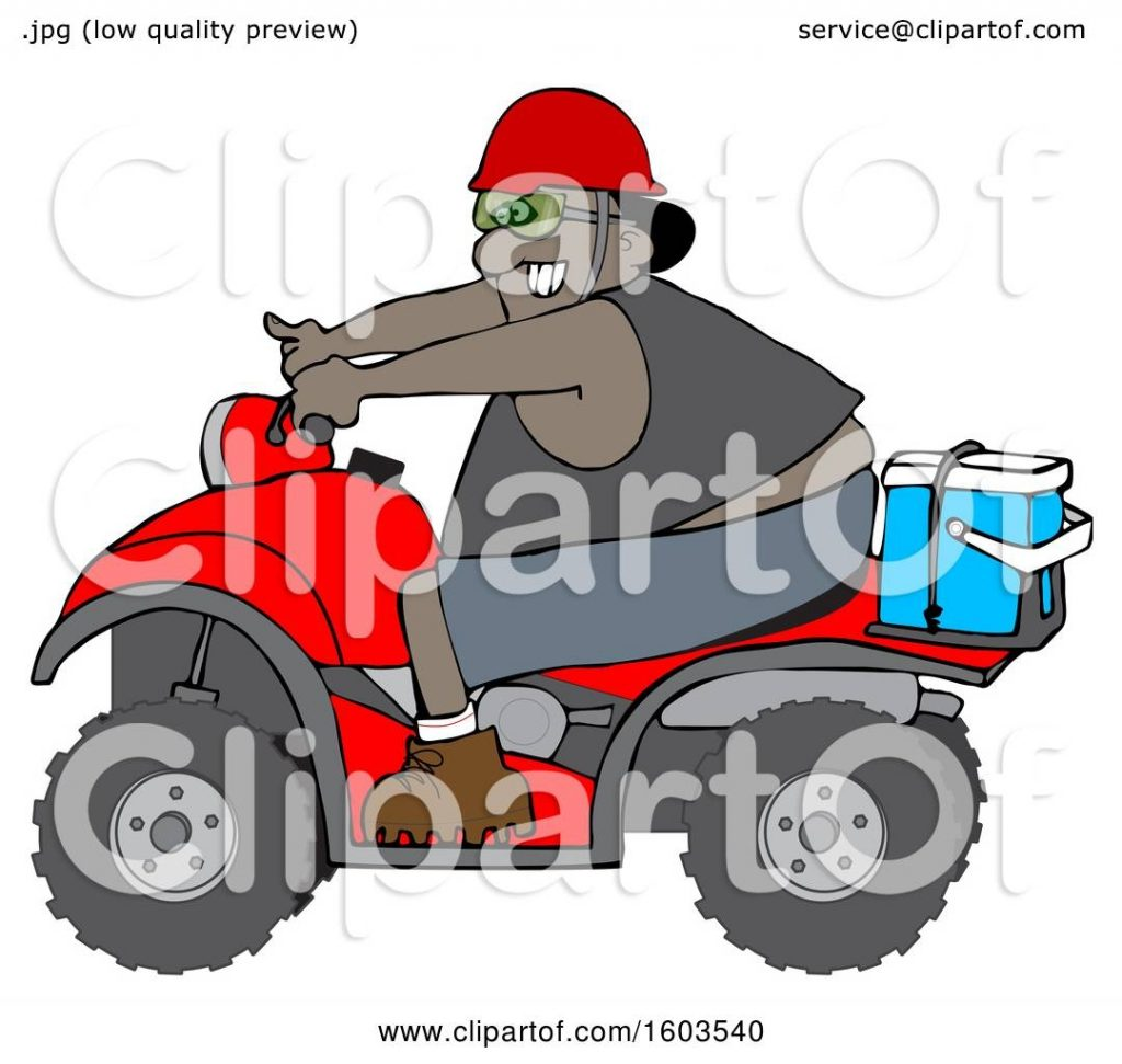 clipart of a cartoon black man riding a red atv with an ice