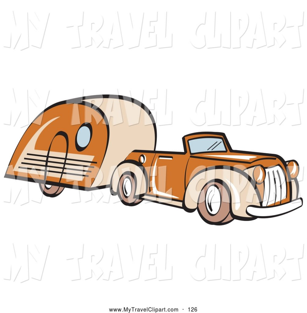 clipart of a old fashioned orange convertible car pulling a