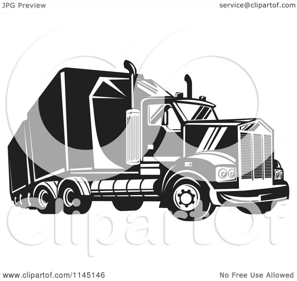 clipart of a retro black and white big rig truck 4 royalty