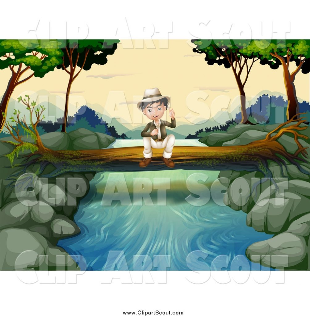 clipart of a sitting explorer boy on a fallen log over a