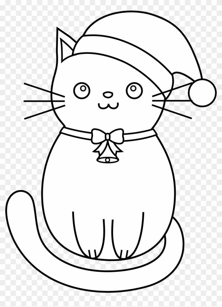 coloring santa hats with cat hat svg black and white