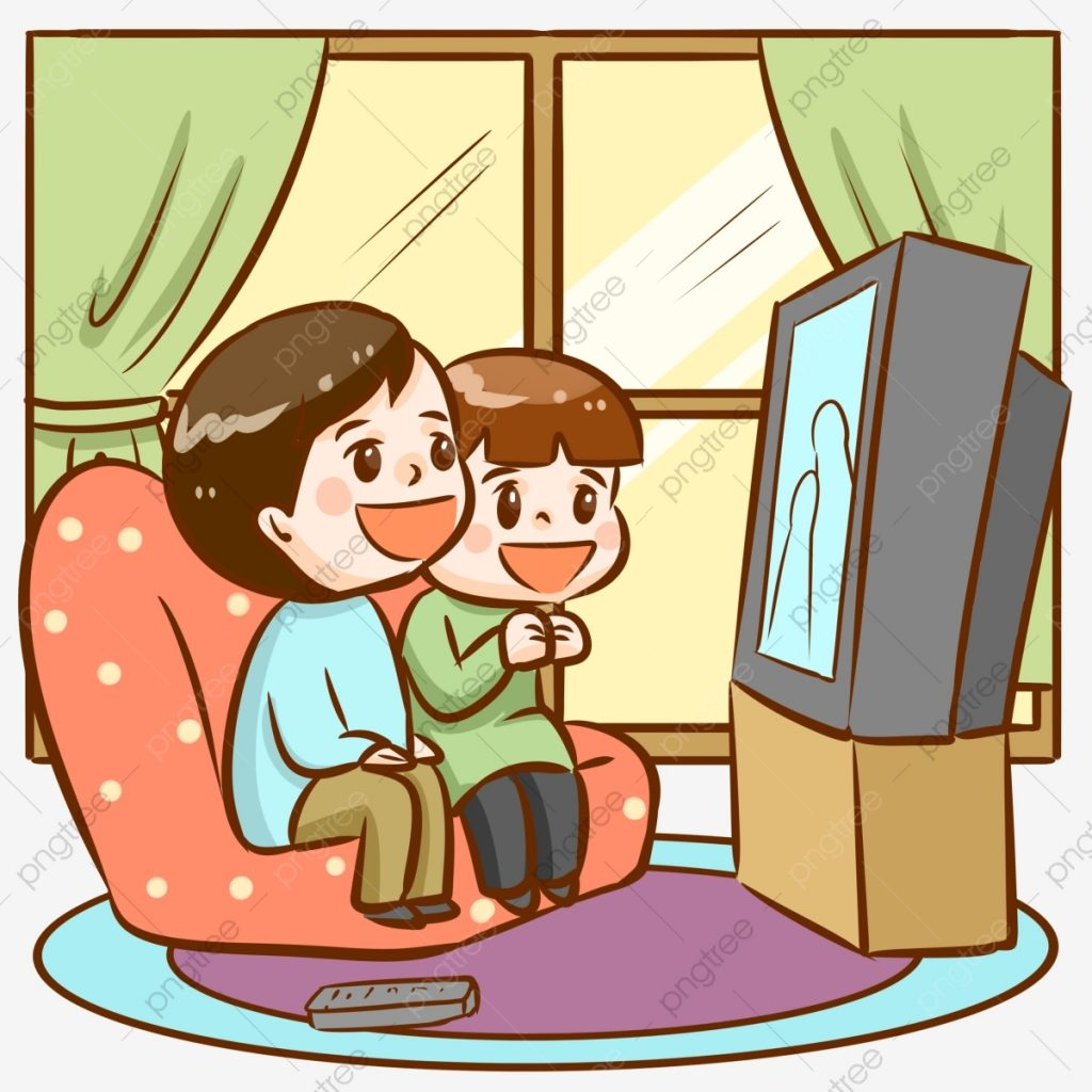 couple watching tv video color decoration graphic design
