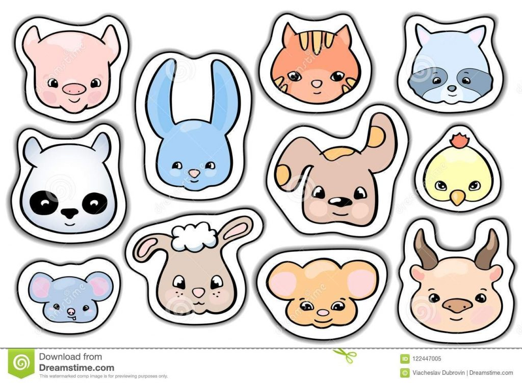 cute animals stickers smile animal head vector clipart