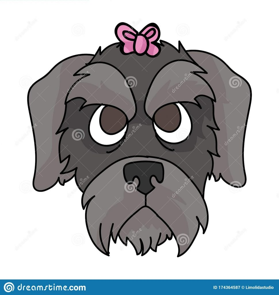 cute cartoon schnauzer dog puppy face with pink bow vector