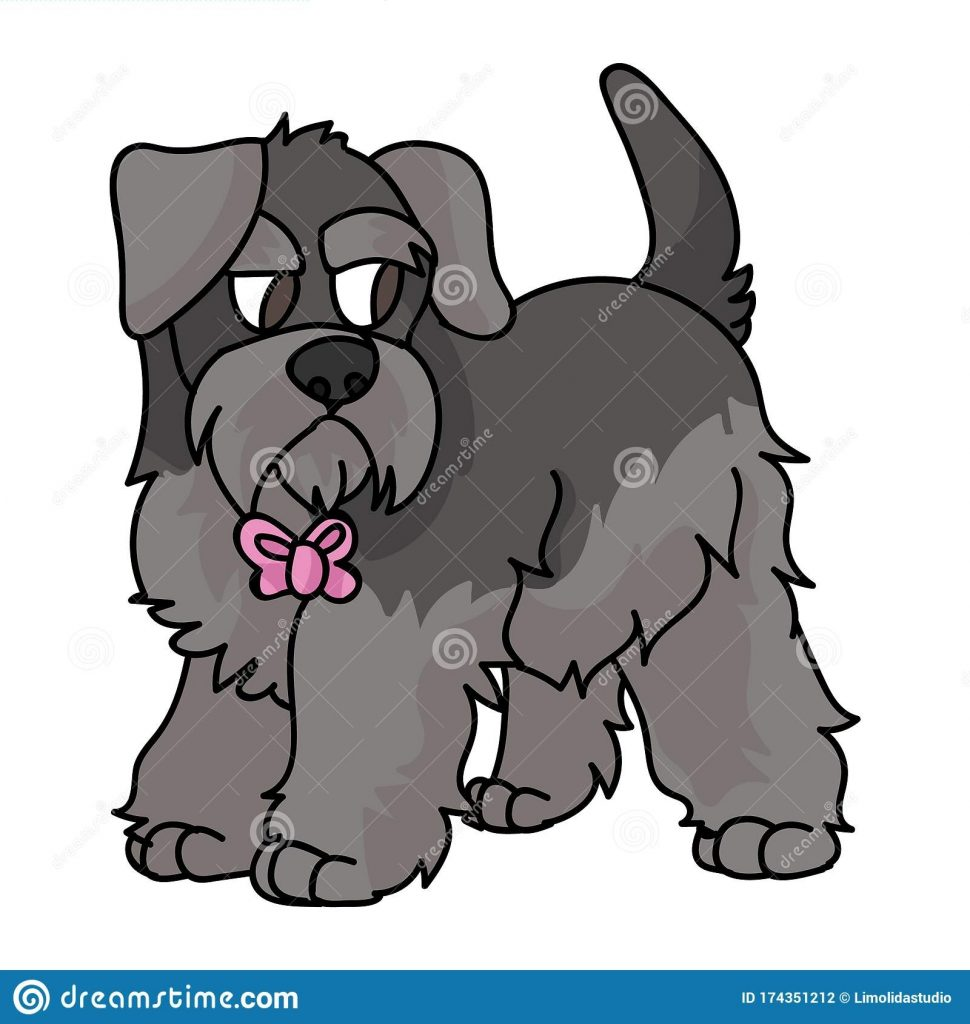 cute cartoon schnauzer puppy with pink bow vector clipart