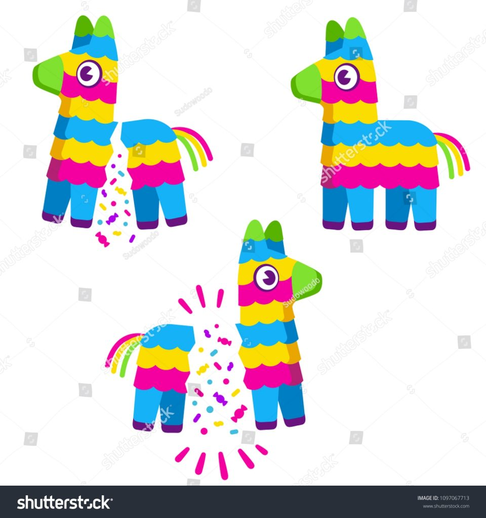 cute colorful cartoon pinata broken confetti stock vector